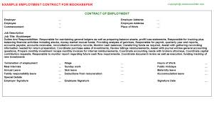 Sample Resume For Bookkeeper by Bookkeeper Employment Contract
