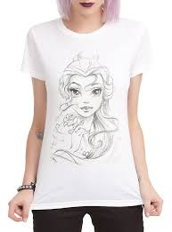 disney beauty and the beast belle sketch girls t shirt topic