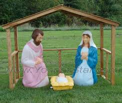 lighted outdoor nativity set with stable yonder