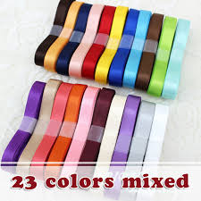 ribbons wholesale 23 different colours mixed width 10mm satin polyester