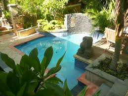 decor small backyard landscape ideas using swimming pool and