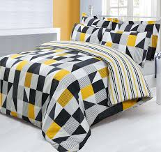 double bed printed reversible geometric jazz yellow black duvet