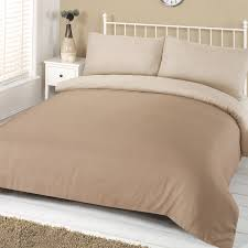 plain dye reversible duvet cover with pillowcase linen bedding set