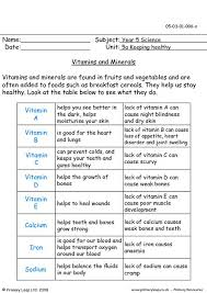 primaryleap co uk vitamins and minerals worksheet