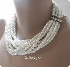 chunky necklace pearl images Chunky layered pearl necklace bridal pendant wedding pendant jpg