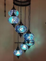 Turkish Chandelier 7 Large Mosaics Turkish Moroccan Hanging Glass Mosaic Helezon