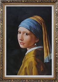 painting the girl with the pearl earring framed painting 36 x24 girl with a pearl earring