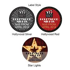 hollywood personalized round labels 20 pcs hollywood party