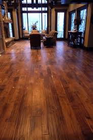 raked wood floors rustic family room salt lake city
