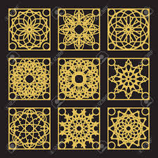 patterns set with luxury arabic geometric ornaments vector