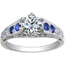 sapphire accent engagement rings 18k white gold deco filigree ring with blue sapphire accents