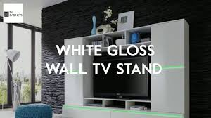 Wall Tv Furniture White Gloss Wall Tv Stand Hd Youtube