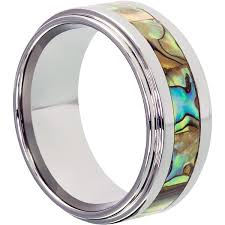 titanium style rings images Epic abalone mens inlay shell rings forever metals jpg
