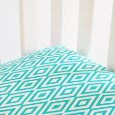 diamond crib sheet turquoise and white oliver b