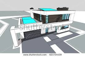 House With Garage Heating Cooling System Interior Isometric Template Stock Vector