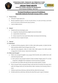 format laporan praktikum format laporan praktikum statistik industri semester genap periode