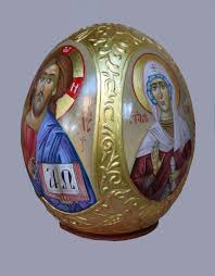 painted ostrich egg painted ostrich egg egg icon easter gift orthodox