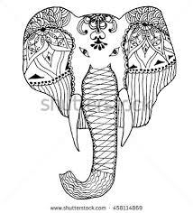 beautiful handdrawn tribal style elephant tattoo stock vector