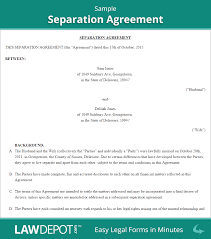 separation agreement template free separation agreement forms us
