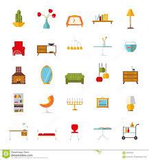 Home Interiors Collection Home Interior Flat Design Vector Icons Collection Stock Vector