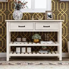 antique white kitchen storage cabinet urhomepro 45 console table buffet cabinet sideboard for entryway with storage drawers and 2 bottom shelf entryway table accent table kitchen storage