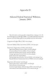 bureau of census and statistics appendix d selected federal statistical websites january 2009