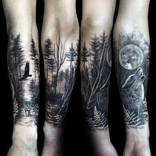 wolf howling at the moon forest sleeve on forearms