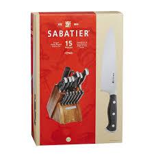 kitchen knives direct amazon com sabatier 15 piece forged triple rivet knife block set