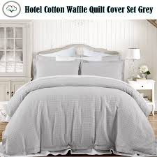 grand atelier grey hotel 100 cotton waffle quilt doona cover set