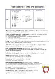 english worksheet connectors of time and sequence 3rd grade