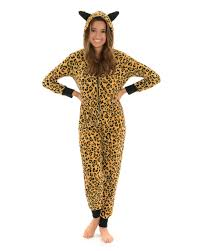 halloween pajamas womens womens one piece pajamas leopard print hooded onesie with ears