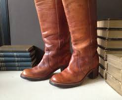 brown leather moto boots 1960s frye leather boots cognac brown campus size 5 5 us