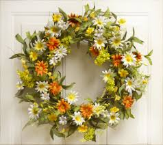 Spring Home Decor Interior Decorating With Spring Wreaths Silk Flowers Floral For