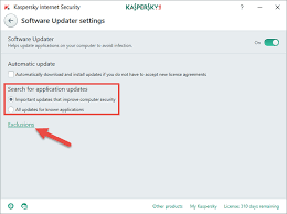 how to update installed applications through kaspersky internet