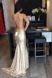 gold party dress backless sequin evening prom dress mermaid gold party prom dress