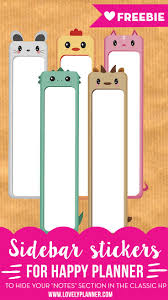 165 best printables images on pinterest happy planner planner free printable happy planner sidebar stickers to cover the notes section of your classic happy planner