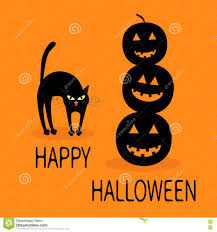 cat arch back three black silhouette funny smiling pumpkins cute