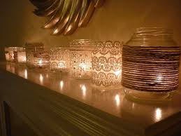 diy cheap home decorating ideas with candles in decorated jam jars