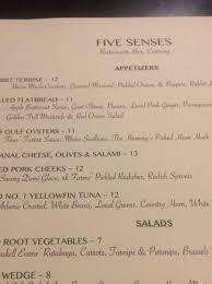 five senses restaurant bar and catering murfreesboro menu