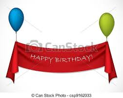 happy birthday ribbon happy birthday ribbon hanging on balloons vectors search clip