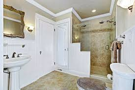 Wainscoting Over Bathroom Tile Cottage 3 4 Bathroom With Crown Molding U0026 Wall Sconce In Auburn