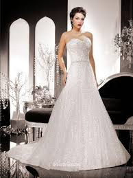 strapless sweetheart a line wedding gown with silver sequins