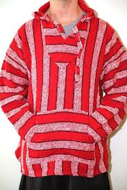 genuine baja hoodie surfer poncho pullover jacket red u0026 white