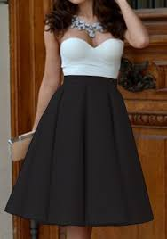 high waisted skirts black plain pleated skater flared vintage high waisted knee length
