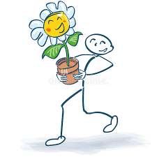 Challenge Flower Pot Stick Figure With A Flower In Flowerpot Stock Vector