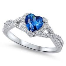 promise ring wedding engagement heart promise ring 0 74ct blue sapphire cz