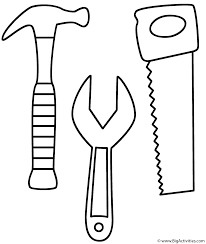 Hammer Saw And Wrench Coloring Page Tools Tools Coloring Page