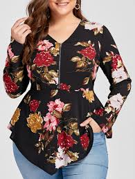 blouses for plus size floral 3xl plus size asymmetric half zipper floral sleeve