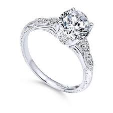 wedding ring white gold 18k white gold vintage inspired amavida diamond engagement ring