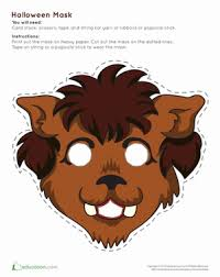 werewolf mask worksheet education com